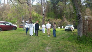 Group waiting for the open hive
